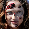 A zombie waits for the start of the Vance Zombie Run Thursday at Vance Air Force Base. (Staff Photo by BILLY HEFTON)