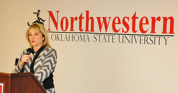 Oklahoma governor, Mary Fallin, speaks during a reception at NWOSU Enid Thursday. (Staff Photo by BILLY HEFTON)