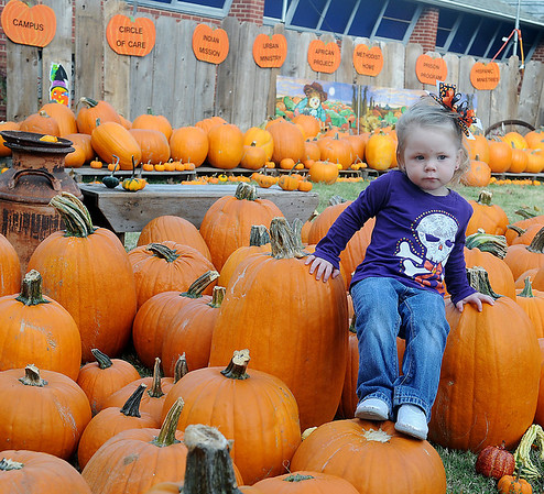 Faithlynn Hagermann, 2-year-old daughter of Brittney and Nate Hagermann, climbs onto pumpkins at Christ United Methodist Church's Pumpkin Patch Thursday, Oct. 3, 2013. Proceeds raised each year during the church's fundraiser benefit the Campus, Circle of Care, Indian Mission, Urban Ministry, African Project, Methodist Home, Prison Program and Hispanic Ministries. (Staff Photo by BONNIE VCULEK)