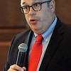 "Gerard Clancy, MD, Professor at the OU School of Community Medicine and President of the University of Oklahoma, Tulsa, gives ""The Affordable Care Act and Beyond: Understanding US Health Care Tectonics"" address at the Enid Regional Development Alliance quarterly luncheon at Oakwood Country Club Thursday, Oct. 10, 2013. (Staff Photo by BONNIE VCULEK)"