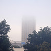 Heavy fog obscures the top of Broadway Tower Wednesday, Oct. 2, 2013. (Staff Photo by BONNIE VCULEK)