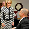 Oklahoma governor, Mary Fallin, visits with Rep. John Enns during a reception NWOSU Enid Thursday. (Staff Photo by BILLY HEFTON)