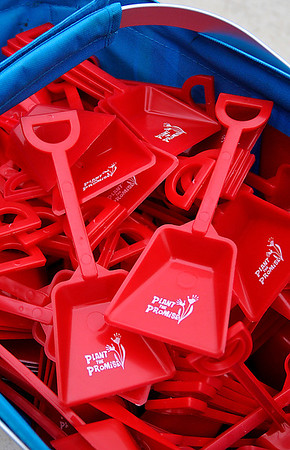 Red shovels given to each student at Prairie View Elementary for planting red tulip bulbs as part of Red Ribbon Week. (Staff Photo by BILLY HEFTON)