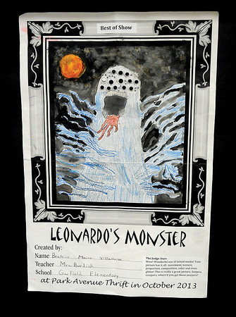 "Enid Public School's third grade Leonardo da Vinci Monster drawing contest ""Best In Show"" drawing, created by Beatrice Maira Villanurva from Mrs. Burdick's class at Garfield Elementary School, is displayed inside Park Avenue Thrift Wednesday, Oct. 23, 2013. The award party will be at Monday, Oct. 28 at 10 a.m. (Staff Photo by BONNIE VCULEK)"