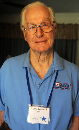 Ernie Leierer, a 9th Air Force Airborne Troop clerk typist during World War II, was among the veterans who received an Oklahoma Honor Flight to Washington D.C. Monday, Oct. 7, 2013. (Staff Photo by BONNIE VCULEK)