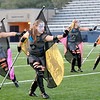 Members of the Hennessey High School marching band flag corp during the band's performance in the Tri-State Music Festival marching competition Tuesday at D. Bruce Selby Stadium. (Staff Photo by BILLY HEFTON)