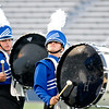 Member of the Hennessey High School marching band during the band's performance in the Tri-State Music Festival marching competition Tuesday at D. Bruce Selby Stadium. (Staff Photo by BILLY HEFTON)