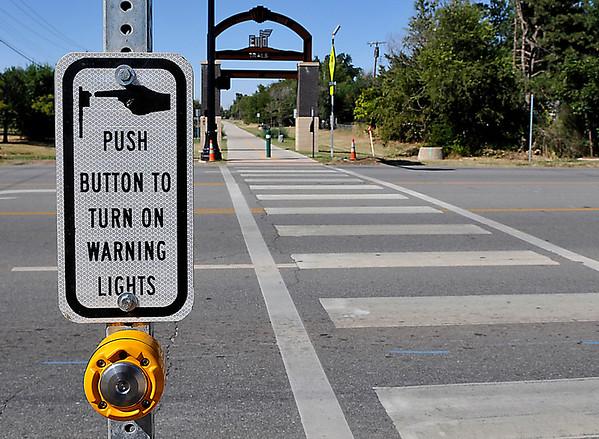 Warning light signal pole on Van Buren at the Enid Trail Crossing. (Staff Photo by BILLY HEFTON)