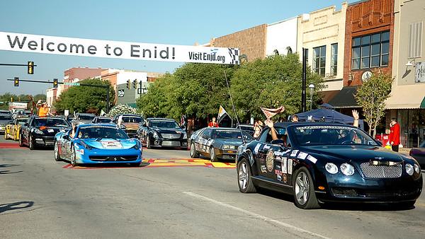 Fireball Run drivers depart downtown Enid Wednesday, Oct. 1, 2014. (Staff Photo by BONNIE VCULEK)