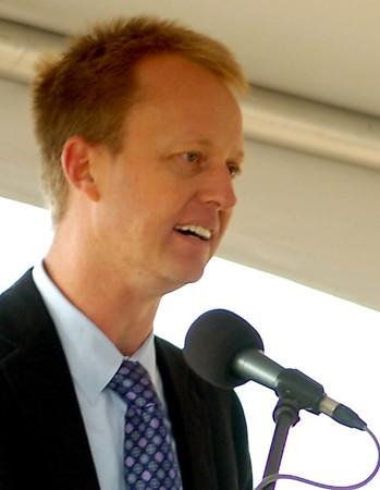Chase Koch, President of KOCH Nitrogen Company, LLC speaks during the 1.3 billion dollar expansion groundbreaking east of Enid Thursday, Oct. 9, 2014. (Staff Photo by BONNIE VCULEK)