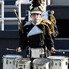 The Pond Creek-Hunter marching band drumline waits to begin their performance in the Tri-State Marching contest Tuesday October 4, 2016. (Billy Hefton / Enid News & Eagle)