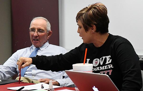 Paulette Rink and Bill Steinert discuss SQ 777 during a forum Thursday October 27, 2016 at NWOSU Enid. (Billy Hefton / Enid News & Eagle)