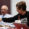 Paulette Rink and Bill Steinert discuss SQ 777 during a forum Thursday October 27, 2016 at NWOSU Enid. (Billy Hefton / Enid News & Eagle)