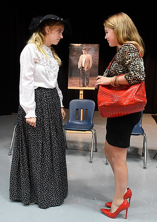 Mikayla Aulner (left) and Elisabeth Aulner during a rehearsal of the Chisholm High School production of Last Will and Testament. The play will be presented at 7 p.m. November 1. (Billy Hefton / Enid News & Eagle)