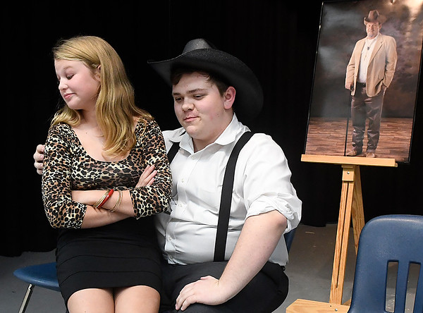 Elisabeth Aulner and Marcus Easterly during a rehearsal of the Chisholm High School production of Last Will and Testament. The play will be presented at 7 p.m. November 1. (Billy Hefton / Enid News & Eagle)