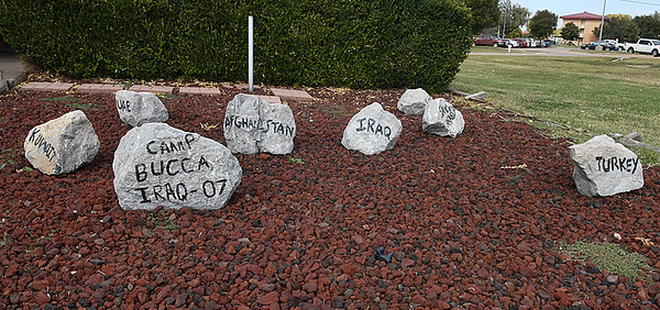 A rock garden outside the Security Forces  building Friday October 14, 2016 at Vance Air Force Base showing the different countries that airman have been deployed. (Billy Hefton / Enid News & Eagle)