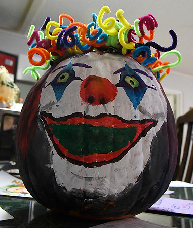 One of the Halloween pumpkins and cards that students at Lincoln Academy made for the residents at Kenwood Manor. (Billy Hefton / Enid News & Eagle)