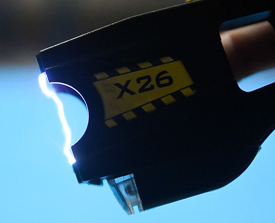 Arc of a taser used by security forces at Vance Air Force Base during a demonstration Friday October 14, 2016 at Vance Air Force Base. (Billy Hefton / Enid News & Eagle)