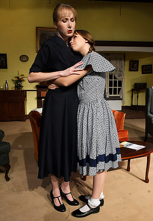 Chelsea Davis and Jersey Garrett of the Gaslight Theater production of Bad Seed Wednesday October 19, 2016. (Billy Hefton / Enid News & Eagle)