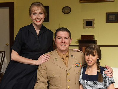 Chelsea Davis, Mitch Lyon and Jersey Garrett of the Gaslight Theater production of Bad Seed Wednesday October 19, 2016. (Billy Hefton / Enid News & Eagle)