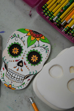 A finished sugar skull at Creative Arts Enid Tuesday October 25, 2016. (Billy Hefton / Enid News & Eagle)