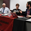Ben Ezzell (right) makes a point as Paulette Rink and Bill Steinert listen during a forum on SQ 777 Thursday October 27, 2016 at NWOSU Enid. (Billy Hefton / Enid News & Eagle)