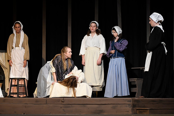"""Cast members rehearse the Gaslight Theater production of """"The Crucible""""  Wednesday October 18, 2017. (Billy Hefton / Enid News & Eagle)"""