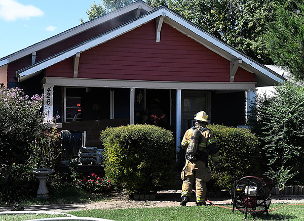 Enid fire department responded to a fire call at 426 Harrison Tuesday October 10, 2017. (Billy Hefton / Enid News & Eagle)