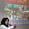 Marcy Jarrett, Director of Visit Enid, gestures as she talks about the economic impact that the arts has on communities during the 2017 Oklahoma Arts Conference Wednesday October 25, 2017 at the Central National Bank Center. (Billy Hefton / Enid News & Eagle)