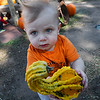 Henry Buhrke holds a gourd while visiting the Pumpkin Patch at Christ United Methodist Church Thursday October 12, 2017. (Billy Hefton / Enid News & Eagle)