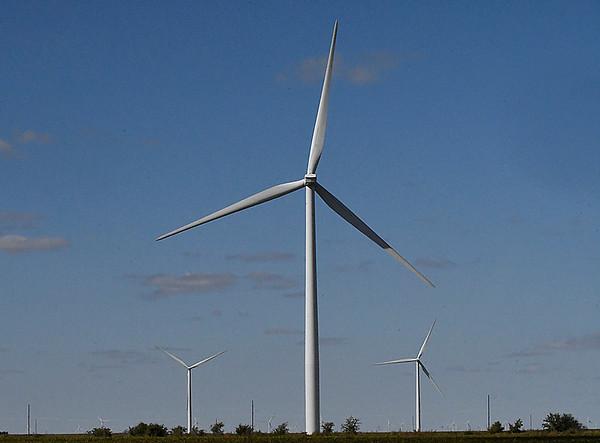 Wind turbines east of Breckenridge Tuesday October 10, 2017. (Billy Hefton / Enid News & Eagle)