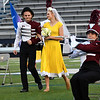 Members of the Perry High School marching band during the band's performance in the 2017 Tri-State marching contest Tuesday October 3, 2017 at D. Bruce Selby Stadium. (Billy Hefton / Enid News & Eagle)