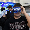 Ford Simpson, from Cimarron High School, looks through a pair of virtual reality goggles during Manufactoring Day at Aurty Technology Center in conjuction with the school's 50th anniversary. (Billy Hefton / Enid News & Eagle)