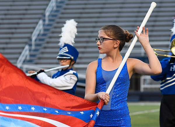 Members of the Hennessey High School marching band during the band's performance in the 2017 Tri-State marching contest Tuesday October 3, 2017 at D. Bruce Selby Stadium. (Billy Hefton / Enid News & Eagle)