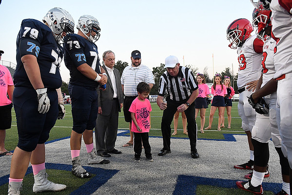 Gunner Williams watches the coin toss prior to the game against Lawton at D. Bruce Selby Stadium Friday October 13, 2017. (Billy Hefton / Enid News & Eagle)