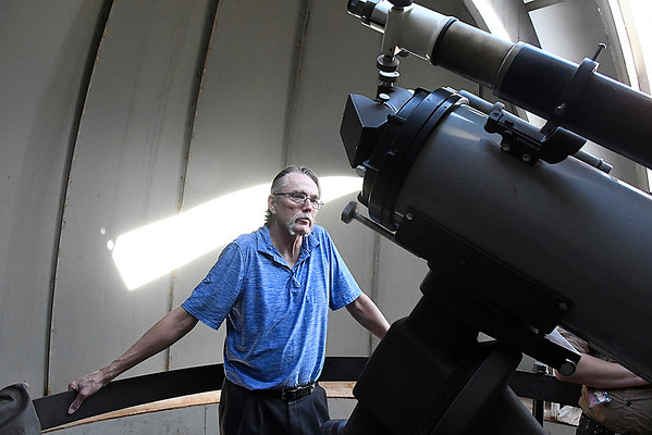 Dusty Hugaboom talks about the renovations completed and planned for the Enid High School observatory Wednesday October 18, 2017. (Billy Hefton / Enid News & Eagle)
