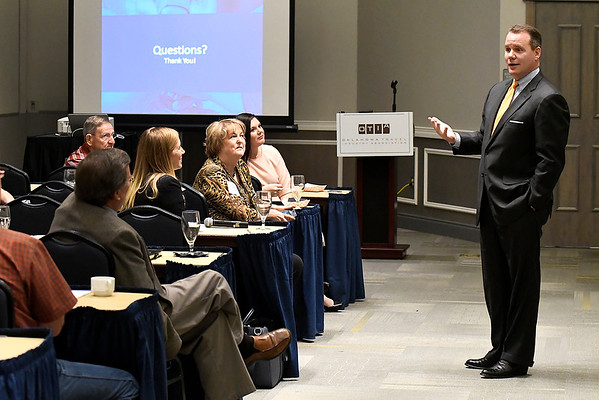Todd Lamb answers questions during the Lt. Governor's Travel & Tourism Summit Monday October 29, 2018 at the Central National Bank Center. (Billy Hefton / Enid News & Eagle)