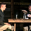"Alex Ewald and Mitch Lyon rehearse a scene from the Gaslight Theatre production of ""Journey's End"" Wednesday October 17, 2018. (Billy Hefton / Enid News & Eagle)"