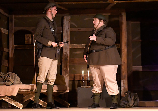 """Alex Ewald and Chad Swanson during a rehearsal for the Gaslight Theatre production of """"Journey's End"""" Wednesday October 17, 2018. (Billy Hefton / Enid News & Eagle)"""