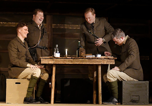 """Alex Ewald, Chad Swanson, Alex Johnson and Mitch Lyon during a rehearsal for the Gaslight Theatre production of """"Journey's End"""" Wednesday October 17, 2018. (Billy Hefton / Enid News & Eagle)"""
