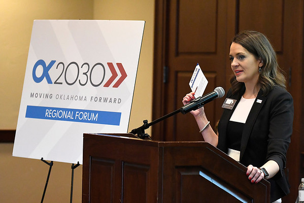 Dr. Jennifer Lepard, Executive Director State Chamber Research Foundation, during the OK2030 Regional Forum Thursday October 18, 2018 at the Oakwood Country Club. (Billy Hefton / Enid News & Eagle)
