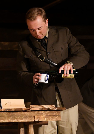 """Alex Johnson during a rehearsal for the Gaslight Theatre production of """"Journey's End"""" Wednesday October 17, 2018. (Billy Hefton / Enid News & Eagle)"""