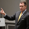 Todd Lamb gestures as he answers questions during the Lt. Governor's Travel & Tourism Summit Monday October 29, 2018 at the Central National Bank Center. (Billy Hefton / Enid News & Eagle)