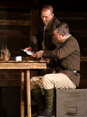 """Jeramie Tipton and Mitch Lyon rehearse a scene from the Gaslight Theatre production of """"Journey's End"""" Wednesday October 17, 2018. (Billy Hefton / Enid News & Eagle)"""