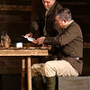 "Jeramie Tipton and Mitch Lyon rehearse a scene from the Gaslight Theatre production of ""Journey's End"" Wednesday October 17, 2018. (Billy Hefton / Enid News & Eagle)"