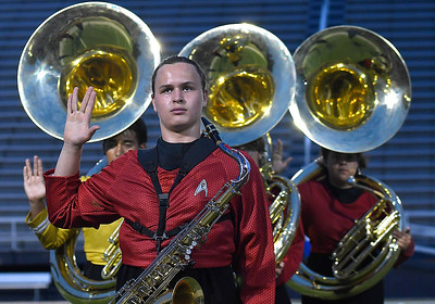 Members of the Alva High School marching band perform during the Tri-State marching competition Tuesday, October 1, 2019 at D. Bruce Selby Stadium. (Billy Hefton / Enid News & Eagle)