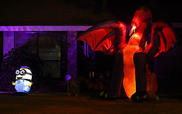 Inflatable Halloween decorations on Rockwood Road. (Billy Hefton / Enid News & Eagle)