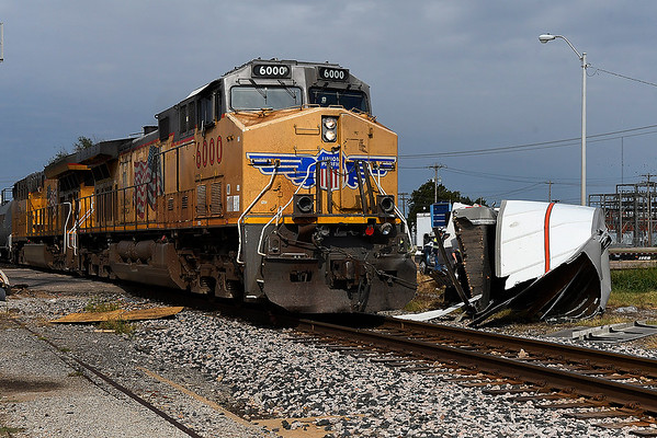 The wreckage of semi trailer lays next to the railroad track at 100 East Garriott after being involved in a collision with a train Saturday, October 5, 2019. (Billy Hefton / Enid News & Eagle)