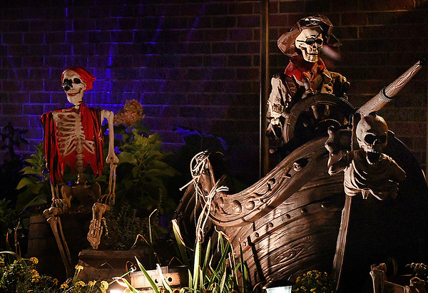 Halloween decorations on Falcon Crest street. (Billy Hefton / Enid News & Eagle)