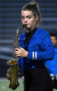 A member of the Alva High School marching band during the Tri-State marching competition Tuesday, October 1, 2019 at D. Bruce Selby Stadium. (Billy Hefton / Enid News & Eagle)